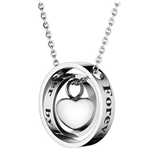Zysta Edelstahl Memorial Urnen Anhänger Halskette Doppelter Kreis und Herz Anhänger mit Gravur Silber + Trichter füllen Kit