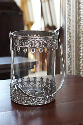 Antik Stil Laterne (aubaho Windlicht Laterne Gartenlaterne Terasse Metall Glas 34cm Antik-Stil)