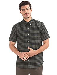 GAP Mens Printed Regular Fit Cotton Casual Shirt (15574547703_Black Moss_Large)