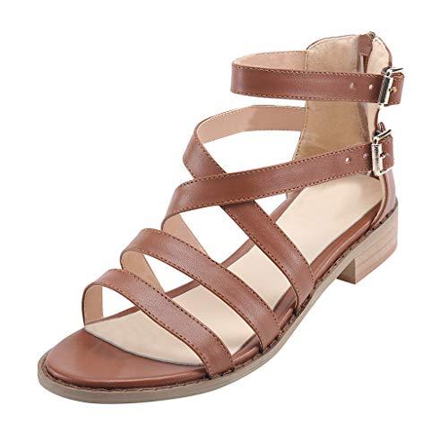 Mosstars Sandalias Mujer Verano 2019 Planas Moda Mujer Hebilla Correa Sandalias Tobillo Cuadrado talón Playa Zapatos de Punta Abierta Sandalias de Vestir Mujer Zapatos de Playa niña
