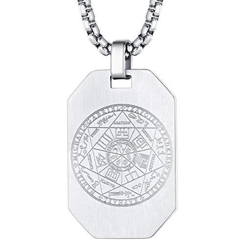FaithHeart Colgante Rectangular Ocho Bordes Placa Militar Dog Tag Collar de Siete Arcángeles Acero Inoxidable Joyería Amuleto de Protección