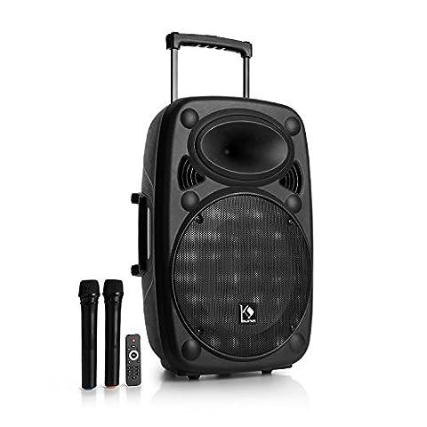"""auna Streetstar 15 Système sono portable • Emplacement Bluetooth • Subwoofer 15"""" • Port USB compatible MP3 et emplacement pour carte mémoire SD • Deux microphones sans fil UHF inclus • Poignée de valise extensible de 100 cm • Antenne filaire • FM AU"""