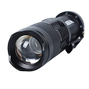 Black 7W 300LM Mini CREE Q5 LED Lamp Flashlight Torch Zoomable Dimmer Zoom