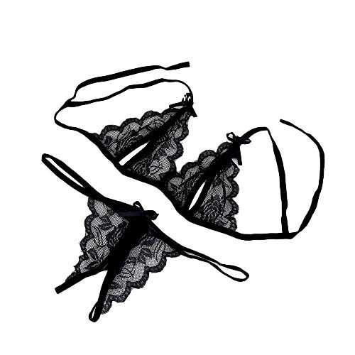 Patifia Damen Sexy Lingerie, Frauen Mode Spitze Bowknot Dessous Babydoll Dress Nachtwäsche Versuchung Erotic Bustier Teddy Halter Schritt Strapse Set Spitze BH Slip Unterwäsche Bodysuit