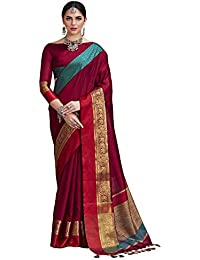 Saree Mall Women Silk Cotton Sarees With Blouse Piece (saree For Women_red_KLRS42008_red_Free Size)