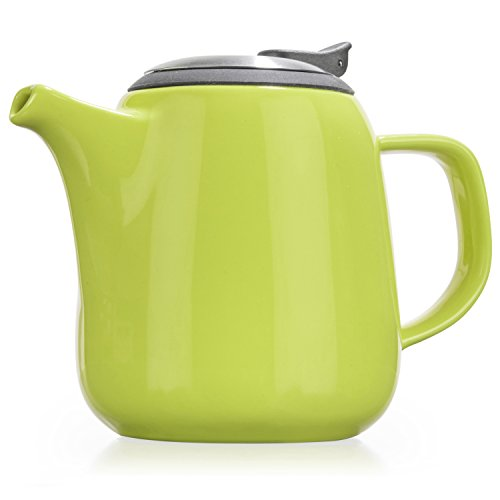 Fine China Teapot (Tealyra - Daze - Keramik Teekanne Grün - Ceramic Teapot Lime - 700ml (2-3 cups) - Small Stylish High-Fired Ceramic Teapot with Stainless Steel Lid and Extra-Fine Infuser To Brew Loose Leaf Tea - Dishwasher-safe - BPA Free)
