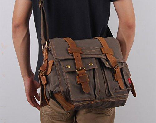 FANDARE Neu Retro Messenger Bag Umhängetasche Schultertasche 14 Zoll Laptoprucksäcke Herren Frauen Tasche Kuriertasche Multifunktions Canvas Braun Dunkelgrau