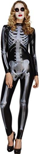 Fever, Damen Miss Whiplash Skelett Kostüm, Catsuit mit Skelett Aufdruck, Größe: XS, (Kostüme Skelett Elasthan)