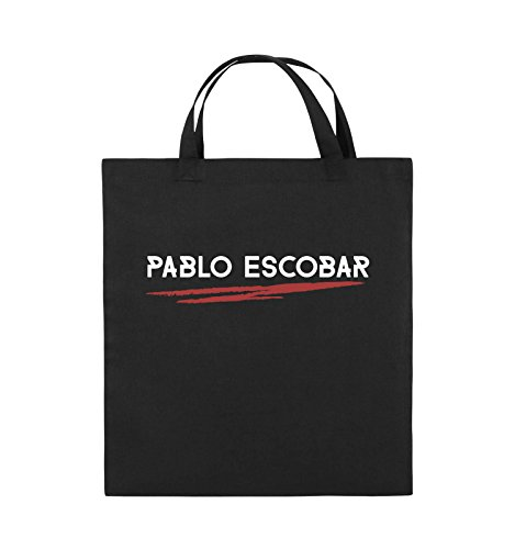Comedy Bags - Pablo Escobar - NARCOS - Jutebeutel - kurze Henkel - 38x42cm - Farbe: Schwarz / Weiss-Neongrün Schwarz / Weiss-Rot