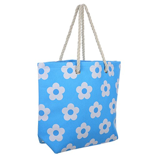Frauen Umhängetasche für den Strand aus Leinen Sommer Urlaub Stoffbeutel Shopping Wiederverwendbar Handtasche Blume / Blau