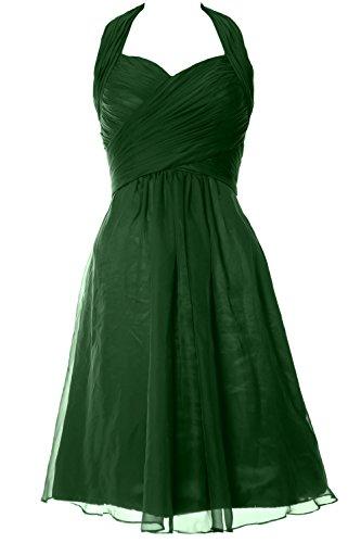 MACloth Elegant Halter Short Wedding Party Bridesmaid Dress Cocktail Gown Dark Green