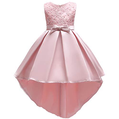 OBEEII Abito da Principessa con Ricamo Floreale Asimmetrico Hi-Lo Senza Maniche Elegante Vestito da Cerimonia Sposa Sera Prima Comunione Damigella Bambina Cocktail Prom per Ragazze 6-7 Anni Rosa