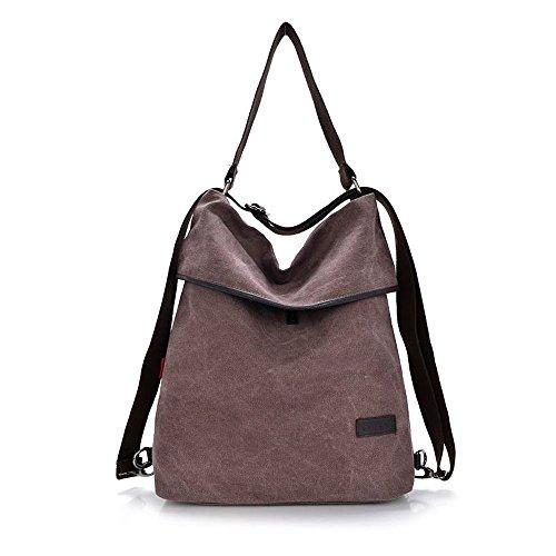 Alando Casual Canvas Damen Schultertasche, Damen Handtasche und damen Rucksack (Kaffe)