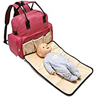 Baby Essentials Red Waterproof Diaper Bag for Mother for Travel with Detachable Nappy Changing pad