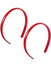 Woman Red 0.4 Width Plastic Frame Teeth Inner Hairband Headband 2 Pcs