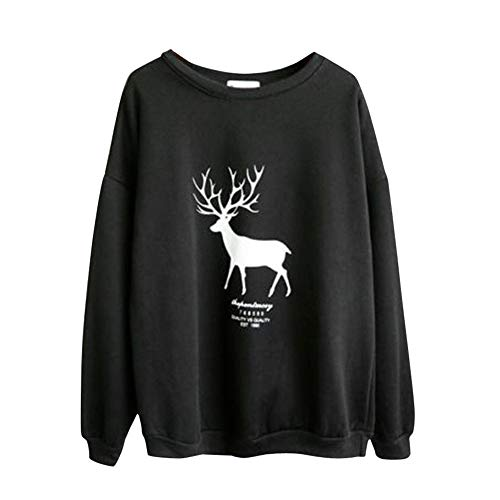 LianMengMVP Weihnachtspullover Sweatshirt Frauen-Lange Hülsen-Weihnachtsdruck-Rotwild-beiläufiges Sweatshirt-Pullover übersteigt Bluse (Schwarz, M)