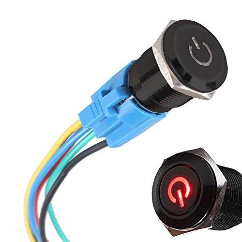 Mintice/™ bo/îtier noir 16mm symbole de puissance bleu LED lumi/ère Oeil dange 12V bouton poussoir voiture interrupteur /à bascule en m/étal Prise de courant