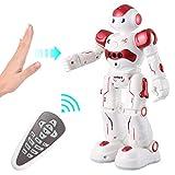 Virhuck R2 Robot Telecomandato per Bambini, Robot Giocattolo, RC Robot Programmazione Intelligente e Gesture Sensore, Danza Cantare Camminare, 500 mAh, Ricarica USB, Rosso