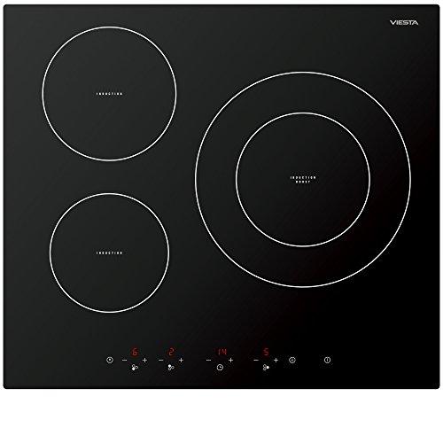 Viesta IKF3Z hochwertiges 3-Zonen Induktionskochfeld 7100W mit 9 Kochstufen, Überhitzungsschutz Timer und Sensor-Touch-Display - Kochfeld autark + Reinigungsschaber GRATIS