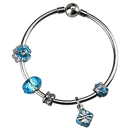 White Birch Bangle Bracelet with Charms for Pandora Bangle 19cm Sea Blue Jewellery Gifts for Girls 8 9 10 Years Old