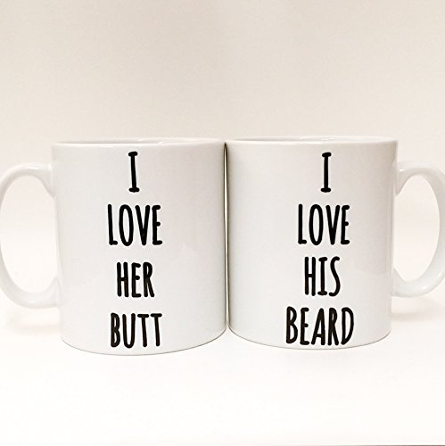 Funny Couples Mugs ~ I love her Butt ~ I love his Beard ~ his and hers ~ mr and mrs mugs ~ gift set ~ wedding gift ~ engagement cups by the T bird