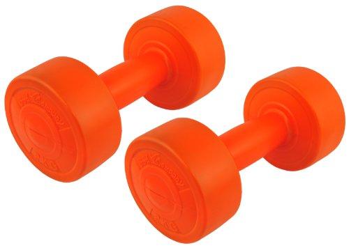 4 Kg (2x2) Kunststoff-ummantelte Gymnastikhanteln orange / Fausthanteln / Rundhanteln