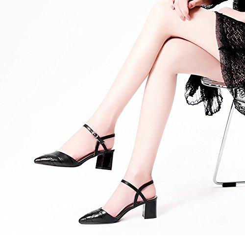 XY&GKBaotou Sandales femme sandales talon en été boutons mot sandales en peau de mouton Sandales Sandales femme a souligné, confortable et belle 34 black