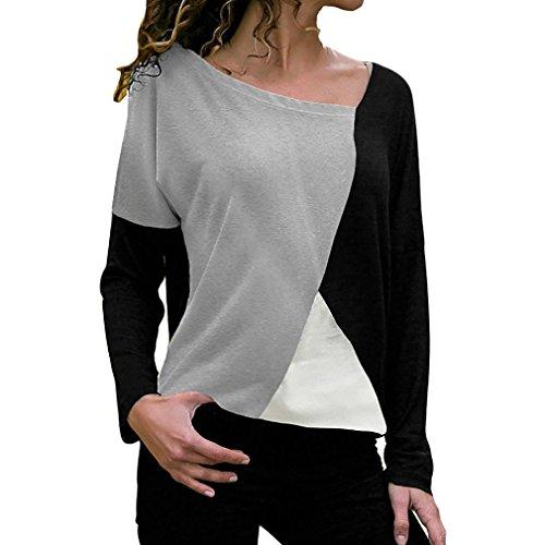 MORCHAN Mode Femmes Casual Patchwork Couleur Bloc O-Cou à Manches Longues T-Shirt Blouse Top(FR-44/CN-XL,Noir)
