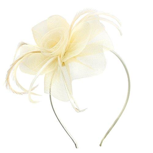e5084d7afa08f8 Haarschmuck Haarreif eleganter Fascinator mit Federn Blumen Kopfbedeckung  Braut Hochzeit (Weiß)