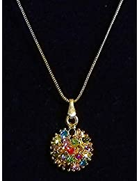 DollsofIndia Multicolor Stone Studded Pendant With Silver And Golden Chain - Stone And Metal (EQ88-mod) - Multicolor