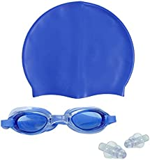 Sports Hour Swimming Cap With Swimming Goggle (Blue)