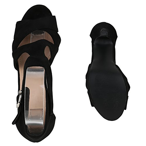 Damen Sandaletten | Plateau Sandaletten Strass | Stiletto Cut-Outs Schuhe | Party High Heels Metallic Lack | Partyschuhe Veloursleder-Optik Schwarz Schnalle