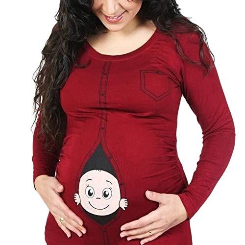 Lonshell Mutterschaft T-Shirt Damen Winter Langarm Umstandsmode T-Shirts Cute Mutterschaft Kleidung Lustige Witzig Spähen Baby Gedruckt Baumwolle Schwangerschaft Tops