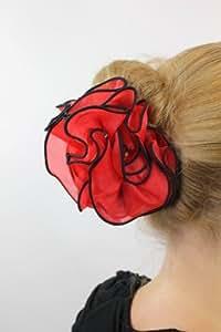 Barrette pour cheveux, rose rouge espagnole, aux bordures noires, fixation pince papillon, Carmen Z025 Bolero