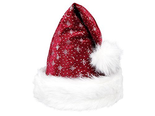 Bommel Kopf Kostüm (Weihnachtsmütze Nikolausmütze mit hochwertigem Pelzrand Plüsch Mütze glitzernde Sterne bordeaux, kein kratzen - One Size Größe für Erwachsene - Weihnachtsmannmütze mit Bommel, ideal für Damen & Herren zu Weihnachten, von)