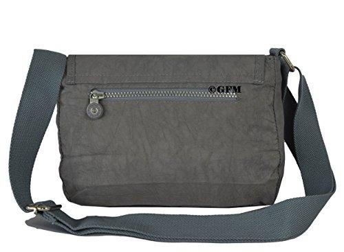GFM da donna in nylon leggero piccolo croce corpo borsa a tracolla Style 1 - Light Grey (12HLBH)
