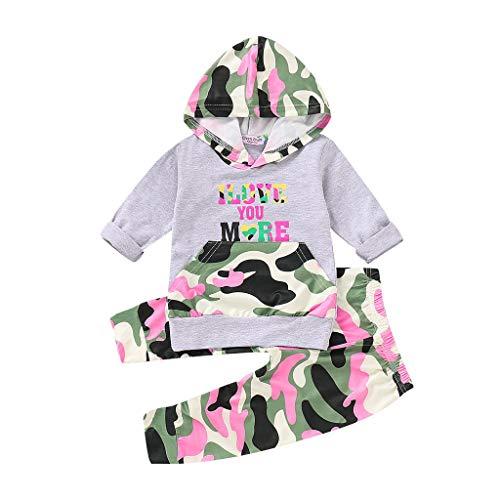 Robemon❤️Toddler Enfant Bébé Unisex Garçons Filles Letter Camouflage Hooded Tops Pantalons Outfits Ensembles de Fille