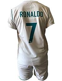Conjunto Equipacion Camiseta Pantalones Futbol Real Madrid Cristiano Ronaldo 7 Replica Autorizado 2017-2018 Niños Adultos (Talla 6 Años)