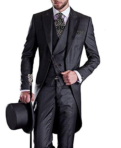 Lilis® Premium Herren Tail Tuxedo 3pc Frack Anzug in Grau Schwarz Anzugjacke, Weste, - Tuxedo Bodysuit