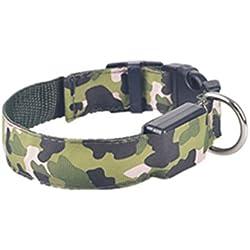 Ularma Collar de perro, Flash LED Collar impermeable de la seguridad de la noche (M, verde)