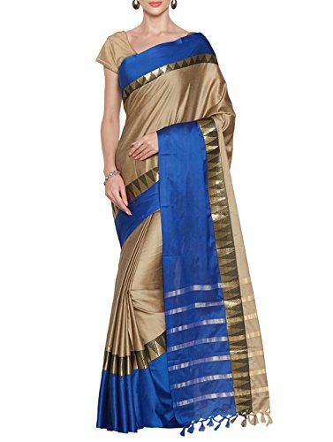 Multi Retail Beige Cotton Silk Party Wear Jacquard/ Self Design Saree With...