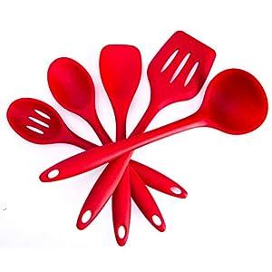 5 Stück Küchenhelfer Silikon Set, Küchenutensilien Set Enthält Pfannenwender, Schlitzlöffel, Löffel, Servierlöffel, Suppenkelle, Spülmaschinenfest, Antihaft, Hitzebeständiges, BPA frei (5 Stück Rot)
