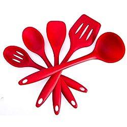 10x Küchenhelfer Top Silikonspachtel Hitzebeständig Umweltfreundlich Sichere Rot