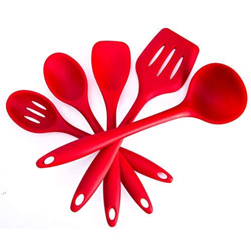 BYbrutek - Juego de Utensilios de Cocina de Silicona, sin BPA, cuchara, cucharón, espátula y tornero...