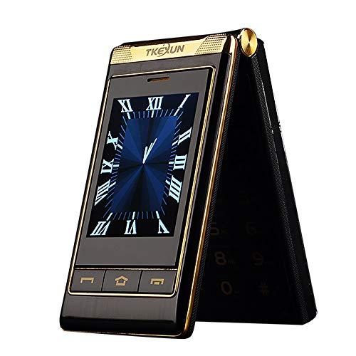 """Flip-Telefon des Alten Mannes, G10 3.0""""Dual Dual Screen Dual-SIM-Karte Lange Standby-Touchscreen FM Senior Telefon Flip-Handy für alte Menschen (Schwarz)"""