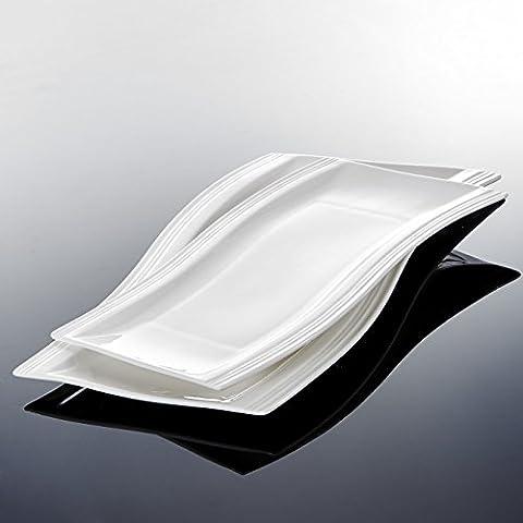 Malacasa Flora Set de 6pcs Assiette Plate Assiettes à Dessert, Plateau à Sushi Assiette à Gâteau Plat Service Table, Rectangulaire Porcelaine Blanc