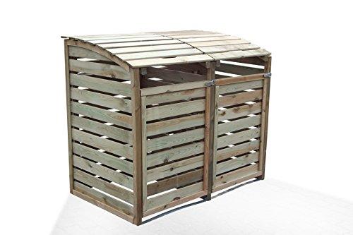 Mülltonnen-Box Mülltonnenverkleidung für 2 Tonnen inkl. Rückwand - 3
