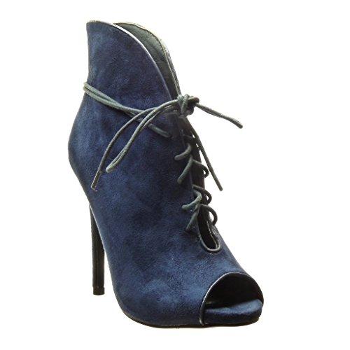 Angkorly - Scarpe Moda Stivaletti Scarponcini stiletto sexy donna Tacco Stiletto alto 12.5 CM Blu