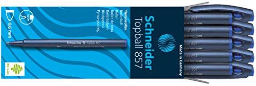 Schneider Topball 857 Tintenroller (stabiler Metallspitze, 0,6 mm) 10er Packung blau
