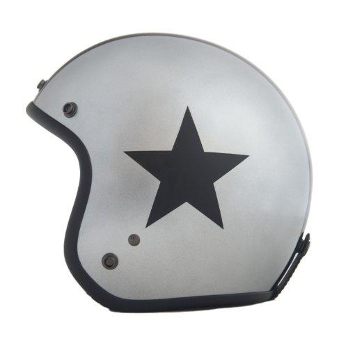Helm ähnlich wie retro Vespa Helm, Motorradhelm oder Rollerhelm (silber mit schwarzem Stern); Größe SM (54-56cm)